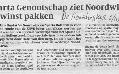 Bekerwedstrijd VV Noordwijk – Sparta Rotterdam